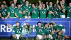 The Irish team celebrate winning the RBS Six Nations in 2014. Photograph: James Crombie/Inpho