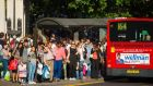 Londoners queue for buses during a Tube drivers strike. Photograph: Dominic Lipinski/PA Wire