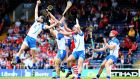 Waterford's Barry Coughlan catches a high ball against Cork in the Munster semi-final. Photograph: Cathal Noonan/Inpho