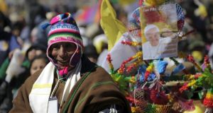 "During his visit to Ecuador, and now Bolivia, Pope Francis has made broad calls for Latin American unity, on Thursday mentioning ""Patria Grande,"" the historic ambition to make the continent a unified world force. Photograph: Daniel Rodrigo/Reuters"