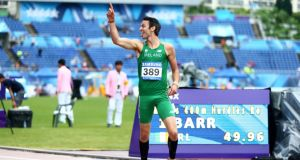 Thomas Barr, University of Limerick, (Waterford) after finishing first in the Men's 400m hurdles with a time of 49.96. Photograph: Cathal Noonan/Inpho