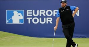 Shane Lowry of Ireland waits on the 18th green during the second round of the Aberdeen Asset Management Scottish Open at Gullane Golf Club. Photograph: Mike Ehrmann/Getty Images