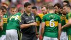 Eamonn Fitzmaurice speaks to his Kerry players at Fitzgerald Stadium in Killarney. Photograph: Ryan Byrne/Inpho