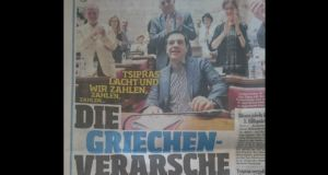 "After seven hours of debate securing a mandate for Greek prime minister Alexis Tsipras to negotiate a third aid package with its creditors, Bild's yellow headline above read: ""Tsipras laughs and we pay, pay, pay."" Below it, with the main headline, Bild fumed that the Greeks were taking the mickey."