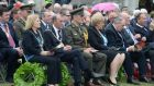 Minister for Arts, Heritage and the Gaeltacht Heather Humphreys (fourth from right) led wreath-laying to commemorate the dead of the first and second World Wars at a ceremony at the National War Memorial Gardens in Islandbridge, Dublin on July 11th, 2015. To the left are newly elected Dublin Lord Mayor Cllr Críona Ní Dhálaigh and Lord Mayor of Belfast Cllr Arder Carson. Photograph: Dara Mac Donaill/The Irish Times