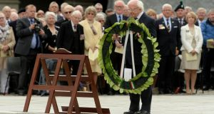 President Micheal D Higgins laying a wreath on behalf of the Irish people during the National Day of Commemoration at the Royal Hospital Kilmainham. Photograph: Cyril Byrne/The Irish Times