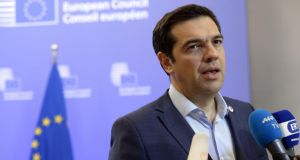 Greek prime minister Alexis Tsipras talks to the media after the euro zone Summit over the Greek debt crisis in Brussels on July 13th, 2015. Photograph: Thierry Charlier/AFP/Getty Images