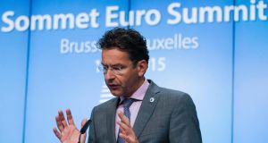 President of eurogroup Jeroen Dijsselbloem giving a final press conference at the end of euro zone leader summit on the Greek crisis. Photograph: EPA