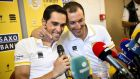 Ivan Basso (R), pictured with Alberto Contador, has been forced to pull out of the Tour de France after being diagnosed with testicular cancer. Photograph: Reuters