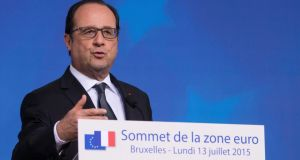'Flamby' no more: France's president, Francois Hollande,  in Brussels on Monday. Photograph: Ian Langdson/EPA