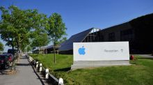 Apple's logo outside its Irish campus. The company's tax arrangementsin Ireland are the subject of an EU investigation. Photographer: Aidan Crawley/Bloomberg