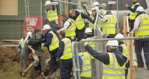 Shell to Sea protestors and security clash at the site of the Corrib pipeline in Aughoose, Co Mayo, in 2011. Photograph: Keith Heneghan/Phocus