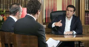 Greek prime minister Alexis Tsipras during his interview for ERT state television. Photograph: Andrea Bonetti/AFP
