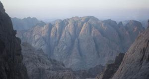 A view over Mount Safsafa in south Sinai, Egypt, the mountain where Moses supposedly received the 10 commandments