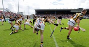 Kilkenny hurlers go through their warm-up routine ahead of an important championship match. Photograph: Morgan Treacy/Inpho.
