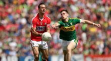 Cork's Kevin O'Driscoll in action against Kerry's Paul Geaney who returns to the Kingdom's starting line-up for the replay at Killarney. Photograph: Ryan Byrne/Inpho