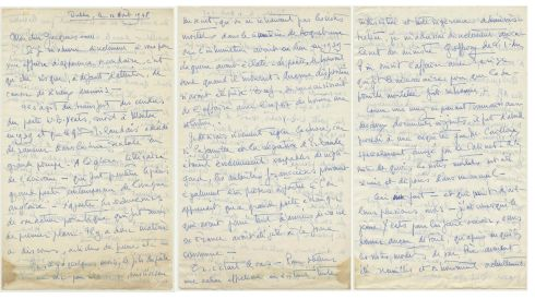 The first three pages of a letter dated August 12th, 1948, from Stanislas Ostrorog, the head of the French legation in Dublin, to Jacques Camille Paris, the head of European affairs at the foreign ministry in France