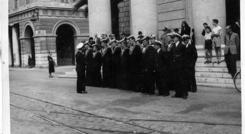 Petty Officers and ratings of the LE Macha at the church of Our Lady of Notre Dame in Nice during their September 1948 mission to collect Yeats's body. Photograph: Irish Defence Forces