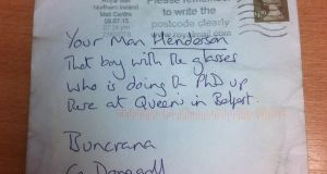 The letter which was delivered to Roisin Henderson's office in the Inish Times. Photograph: Roisin Henderson/Facebook