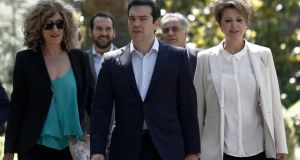 Alexis Tsipras, Greece's prime minister,  with newly appointed deputy foreign minister for European affairs Sia Anagnostopoulou and newly appointed government spokeswoman Olga Gerovasili. Photograph: Kostas Tsironis/Bloomberg