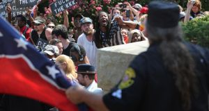 Counter protesters shout at Ku Klux Klan members during a Klan demonstration at the state house building on July 18th, 2015 in Columbia, South Carolina. Photograph: John Moore/Getty Images