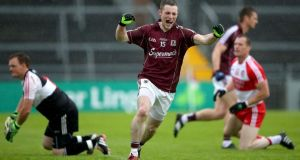 Galway's Danny Cummins celebrates scoring his side's  goal. Photograph: James Crombie/Inpho