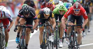 Lotto-Soudal rider Andre Greipel of Germany (R) sprints to win the 5th stage of the Tour de France, France, July 19, 2015. Photograph: Reuters