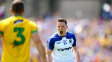Monaghan's Conor McManus celebrates scoring a point. Photograph: Cathal Noonan/Inpho