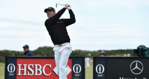 Padraig Harrington tees off on the 11th hole during the third round of the 144th Open Championship at The Old Course in St Andrews, Scotland. Photograph:  Stuart Franklin/Getty Images