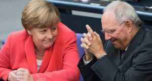 German Chancellor Angela Merkel and German Finance Minister Wolfgang Schäuble during a special session of the German Bundestag over the proposed bailout package for Greece last week.  Photograph: EPA/BERND VON JUTRCZENKA