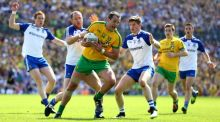 Donegal's Michael Murphy in action against Monaghan's Vinny Corey and Darren Hughes. It seemed to me Murphy played injured at Clones. Photograph: Cathal Noonan/Inpho