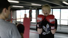 Boxing clever: Dominique McMullan laces up