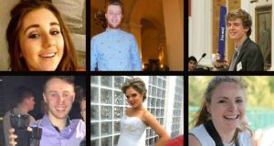 Berkeley victims from top left: Eimer Walsh; Eoghan Culligan; Lorcán Miller; Nick Schuster; Olivia Burke; and Ashley Donohue.