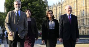 (Left - right) Sinn Féin president Gerry Adams, former MP Michelle Gildernew, vice president Mary Lou McDonald and Deputy First Minister  Martin McGuinness outside the Palace of Westminster in London on Tuesday. Photograph: Jonathan Brady/PA Wire.