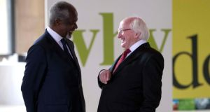 President Michael D Higgins at the meeting of the Conseil Economique, Social et Environmental in Paris with former UN secretary general Kofi Annan. Photograph: Shane O'Neill/Fennell Photography