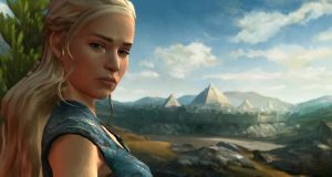 The character of Daenerys Targaryen, voiced by Emilia Clarke, in a scene from Telltale's Game of Thrones, episode five