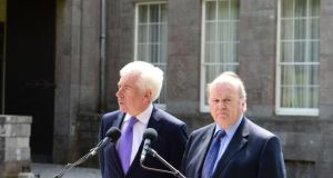 Ministers Michael Noonan and Alex White prior to the final Cabinet meeting at Lissadell House, Sligo before the summer recess. Photograph: The Irish Times