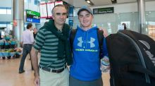 Greystones amateur golfer Paul Dunne, who shot to fame during last weekend's British Open, photographed at Dublin Airport with his father Colum Dunne. Photograph: Brenda Fitzsimons