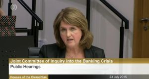 Tánaiste Joan Burton appearing before the Oireachtas banking inquiry on Thursday