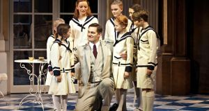 The Von Trapp family ensemble, with Steven Houghton as Captain von Trapp, in the original The Sound of Music stage show, which comes to Dublin from August 17th