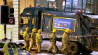 A file photo  of the scene in Glasgow  after a bin lorry crashed into a group of pedestrians. Photograph: PA