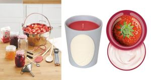 Maslin pan €24.99 Jam making acessories €4.99 Preserve Jars €4.99 Aldi Scented Candle in Wild Strawberry Laduree at amara.com Strawberry body cream€ 15 Body Shop