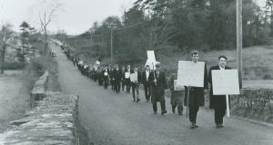 Striking Arigna miners walking to Carrick-on-Shannon, January 1969. Photograph:  Brendan Flynn