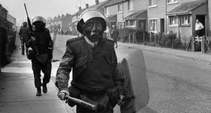 On patrol: British soldiers in the Bogside, in Derry in 1971, during clashes between republicans and loyalists. Photograph: Darde/AFP/Getty