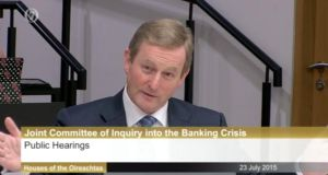 ' The failure of Kenny and Burton to accept that they or their parties might have got anything wrong  . . . will do nothing to help the country avoid making a similar mess in the future.' Above, a screen grab of Taoiseach Enda Kenny at Banking Inquiry