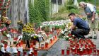 A makeshift memorial in Duisburg to victims of the Love Parade disaster on its fifth anniversary. Photograph: Sascha Steinbach/Getty Images