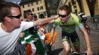 Dan Martin  greets fans before the start of Stage 19 of the  Tour de France between Saint-Jean-de-Maurienne and La Toussuire. Photograph: Doug Pensinger/Getty Images