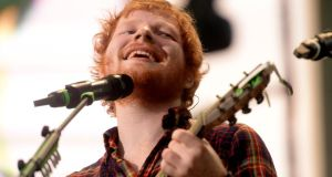 Ed Sheeran performing during his concert at Croke Park on Friday night. Photograph: Cyril Byrne