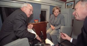 "Vice president Cheney, Lynne Cheney and I Lewis ""Scooter"" Libby aboard Marine Two. Photograph: US National Archive"
