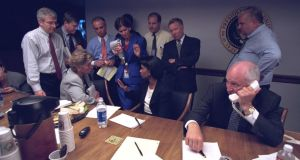Cheney (right) is pictured with senior staff in the president's Emergency Operations Center in Washington in the hours following the  attacks. Photograph: US National Archives